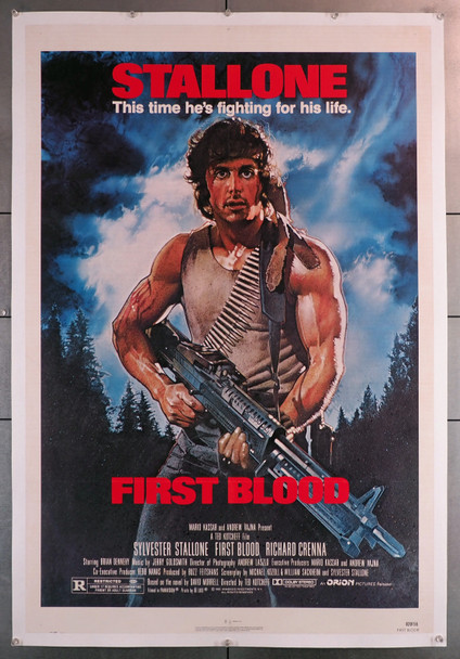 FIRST BLOOD (1982) 3536  Movie Poster (27x41)  Sylvester Stallone art by Drew Struzan  Linen-Backed Original U.S. One-Sheet Poster  Linen-Backed  Fine Plus Condition