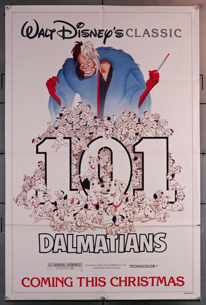 ONE HUNDRED AND ONE DALMATIANS (1961) 29646  Disney Animation Classic Poster   Re-release of 1985 Original U.S. One-Sheet Poster (27x41) Folded  Average Used Condition  Single-Sided