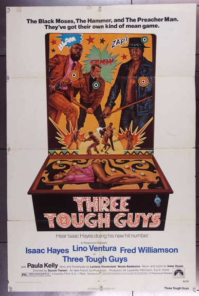 TOUGH GUYS (1974) 23117  Movie Poster (27x41)  Isaac Hayes  Lino Ventura  Fred Williamson  Paula Kelly Paramount Original One Sheet Poster   27x41   Folded   Good condition.  Theater-used.