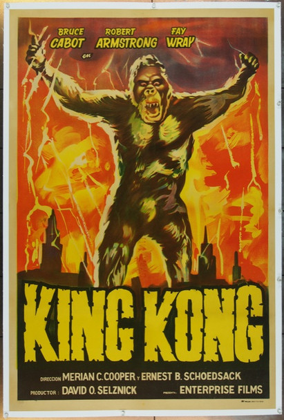 KING KONG (1933) 14984  Movie Poster  Argentine Re-release (29x43)  Fay Wray  Bruce Cabot  Robert Armstrong Original Argentinean Reissued One Sheet Poster (29x43). Stone Lithograph. Linen-Backed. Very Good Plus Condition