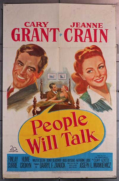 PEOPLE WILL TALK (1951) 8344  Movie Poster  (27x41)  Folded  Average Used Condition  Cary Grant  Jeanne Crain   Joseph L. Mankiewicz Original U.S. One-Sheet Poster (27x41)  Folded  Average Used Condition Graded as Fine
