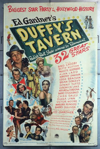 DUFFY'S TAVERN (1945) 8345  Movie Poster (27x41)  Paramount All-Star Movie  Bing Crosby  Alan Ladd  Veronica Lake  Ed Gardiner Original U.S. One-Sheet Poster (2x41) Folded   Average Used Condition