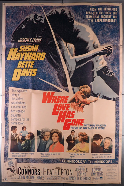 WHERE LOVE HAS GONE (1964) 13354  Movie Poster  40x60 U.S. Poster   Bette Davis   Susan Hayward   Edward Dmytryk Original U.S. 40x60 Poster  Folded and Theater-Used   Good Condition