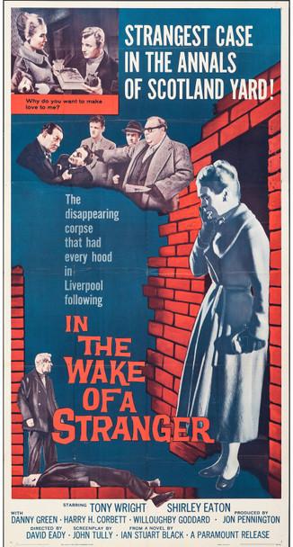 IN THE WAKE OF A STRANGER (1959) 13113  Movie Poster  41x81  Tony Wright  Shirley Eaton  Danny Green   David Hemmings   Original U.S. Three-Sheet Poster (41x81) Folded  Average Used Condition
