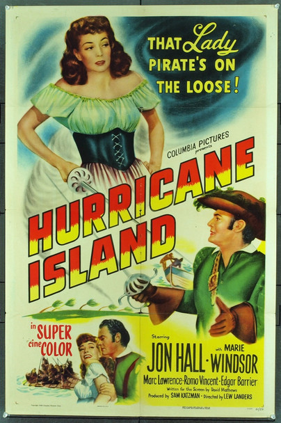 HURRICANE ISLAND (1951) 712 Original Columbia Pictures One Sheet Poster (27x41).  Folded.  Fine Plus Condition.