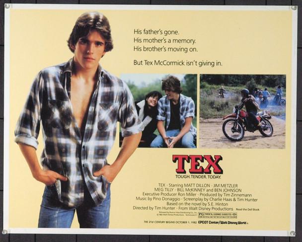 TEX (1982) 904 Original Walt Disney Productions Half Sheet Poster (22x28). Early Matt Dillon.  Rolled. Very Fine Plus