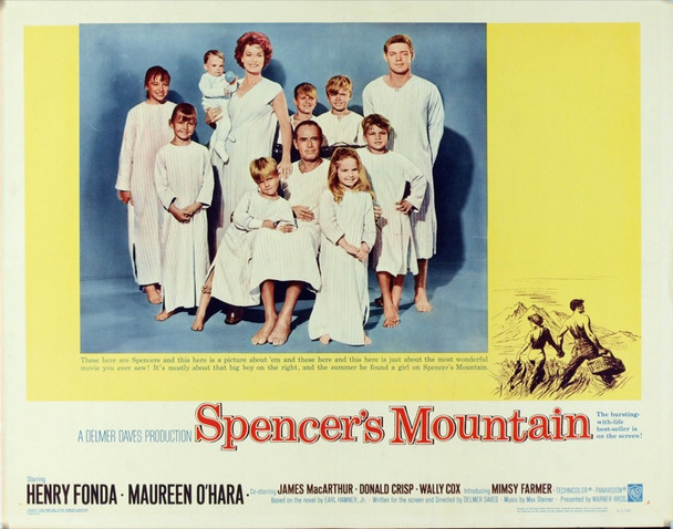 SPENCER'S MOUNTAIN (1963) 955 Original Warner Bros. Half Sheet Poster (22x28).  Rolled.  Very fine plus condition.