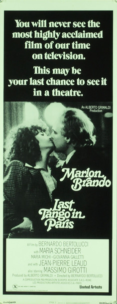 LAST TANGO IN PARIS (1973) 1004 Original United Artists Insert Poster (14x36). Unfolded. Very Fine Condition.