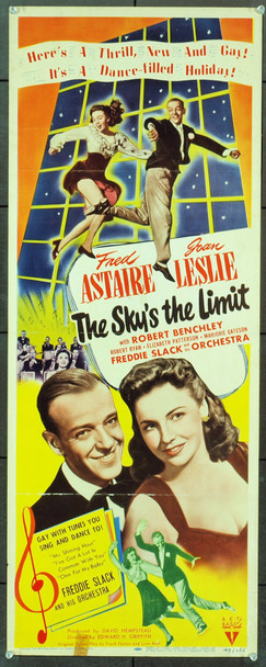 SKY'S THE LIMIT, THE (1943) 1059 Original RKO Insert Poster (14x36).  Folded.  Fine Condition.