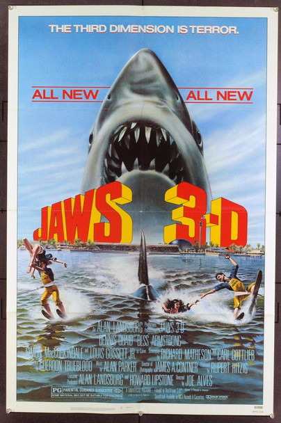 jaws 3 (1983) 1354 Original Universal Pictures One Sheet Poster (27x41). Folded. Very Fine.
