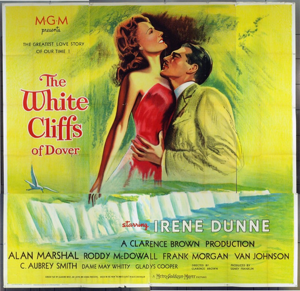 WHITE CLIFFS OF DOVER (1944) 1772 Original MGM Six Sheet Poster (81x81). Stone Lithograph. Folded. Unused. Fine Plus.