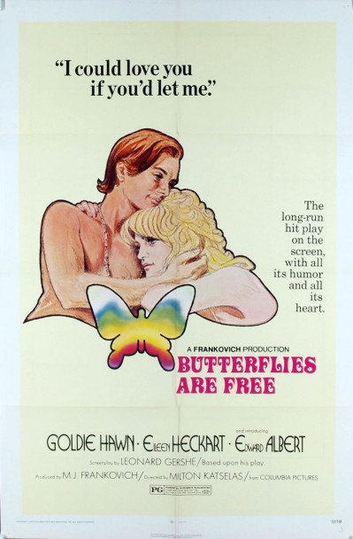 BUTTERFLIES ARE FREE (1972) 1870 Original Columbia Pictures One Sheet Poster (27x41). Folded. Very fine condition.