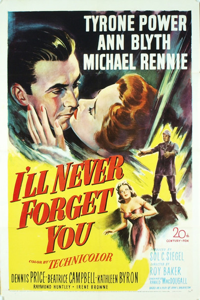 I'LL NEVER FORGET YOU (1951) 1994 Original 20th Century-Fox One Sheet Poster (27x41).  Folded.  Very fine condition.
