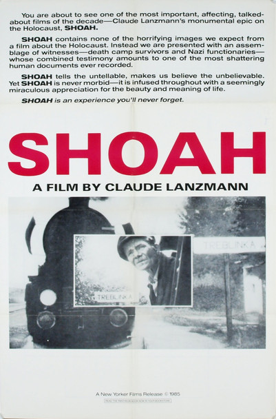 SHOAH (1985) 1996 Original New Yorker Films One Sheet Poster (27x41).  Folded.  Very Fine Plus Condition.