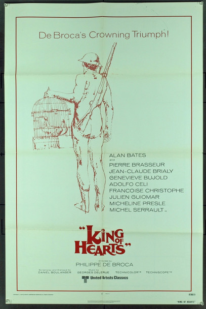 KING OF HEARTS (1967) 2018 Original United Artists 1978 Re-Release One Sheet Poster (27x41).  Folded.  Fine Condition.