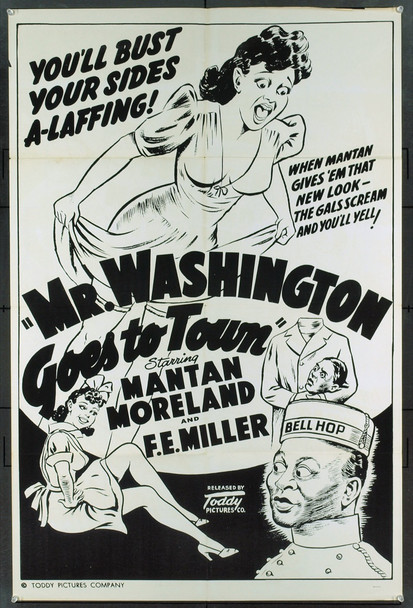 MR. WASHINGTON GOES TO TOWN (1941) 2038 MR. WASHINGTON GOES TO TOWN Original Toddy Pictures Re-Release (late 40s/ early 50s) One Sheet Poster. Very fine condition.