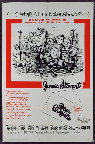 DEAR BRIGITTE (1965) 2286 Original 20th Century-Fox One Sheet Poster (27x41). Jack Davis Art. Folded. Fine Condition.