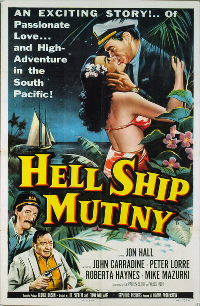 HELL SHIP MUTINY (1957) 2368 Original Republic Pictures One Sheet Poster (27x41). Folded. Very Fine To Near Mint Condition.