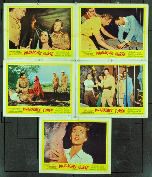 PHARAOH'S CURSE (1957) 2451 Original United Artists Set Of Five Scene Lobby Cards (11x14). Very Good Condition.