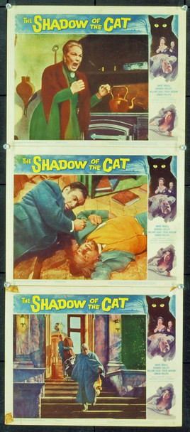 SHADOW OF THE CAT  (1961) 2452 Original Universal Pictures Set Of Three Scene Lobby Cards (11x14).  Fine Plus Condition.