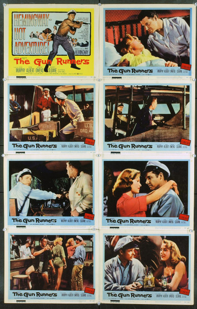 GUN RUNNERS, THE (1958) 2457 Original United Artists Complete Set of 8 Lobby Cards (11x14).  Very Good To Very Fine Condition.