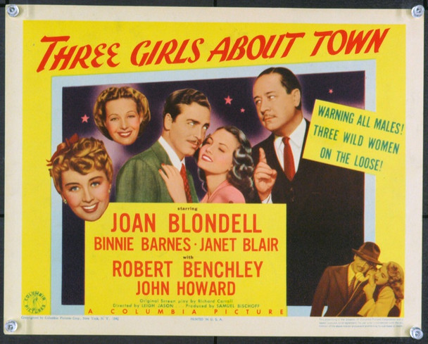 THREE GIRLS ABOUT TOWN (1941) 2533 Original Columbia Pictures Title Lobby Card (11x14).  Fine Plus To Very Fine.