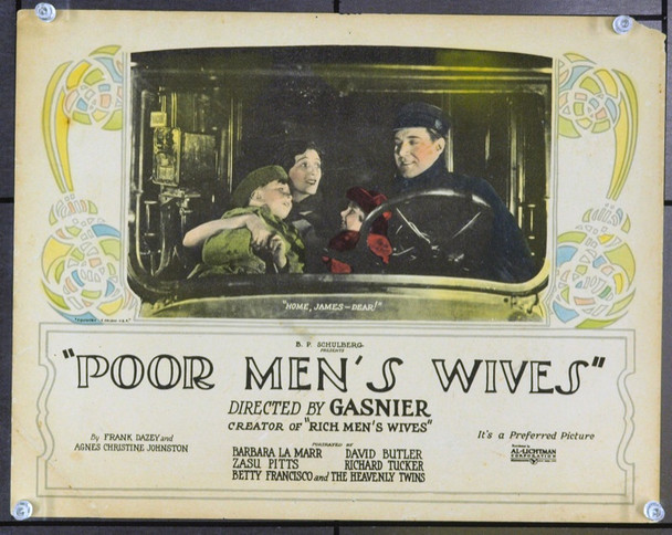 POOR MEN'S WIVES (1923) 2658 Original Al-Lichtman Corporation Title Lobby Card (11x14). Very Good Plus.