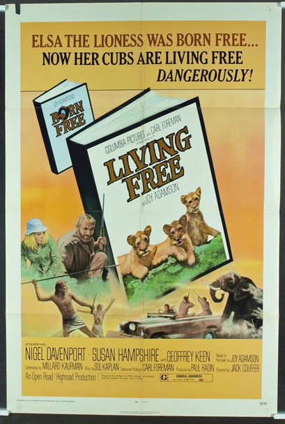 LIVING FREE (1972) 3126 Original Columbia Pictures One Sheet Poster (27x41).  Folded.  Fine Plus Condition.
