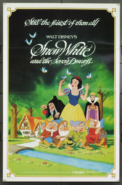 SNOW WHITE AND THE SEVEN DWARFS (1937) 3234 Original Walt Disney Productions One Sheet Poster (27x41). Re-release of 1983. Folded. Very Fine Plus.
