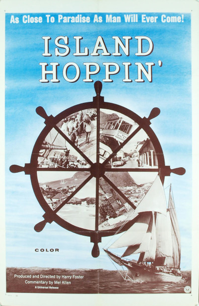 ISLAND HOPPIN' (60'S) 3322 Original Universal Pictures One Sheet Poster (27x41).  Folded.  Very Fine Condition.