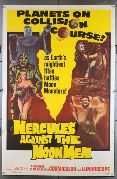 HERCULES AGAINST THE MOON MEN (1965) 3331 Original Governor Films One Sheet Poster (27x41). Folded. Very Fine Condition