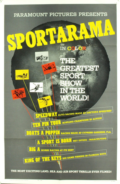 SPORTARAMA (1963) 3338 Original Paramount Pictures One Sheet Poster (27x41).  Folded.  Very Fine Plus Condition.