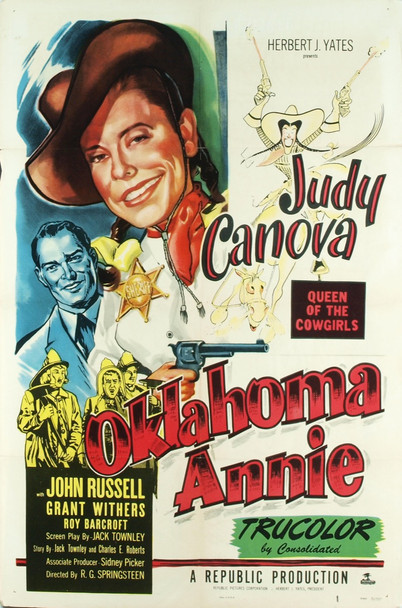 OKLAHOMA ANNIE (1951) 3361 Original Republic Pictures One Sheet Poster (27x41). Folded. Very good plus condition.  Art by Al Hirschfeld