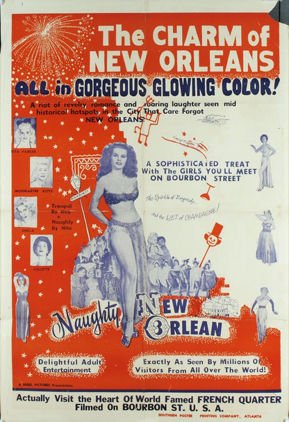 """NAUGHTY NEW ORLEANS (1954) 4147 Original Rebel PicturesOne Sheet Poster (27x41). Style """"A."""" Folded. Very good condition."""