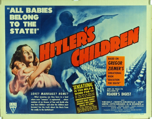HITLER'S CHILDREN (1942) 4212 Original RKO Half Sheet Poster (22x28). Very fine plus condition.