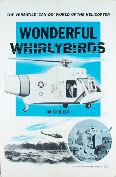 WONDERFUL WHIRLYBIRDS (1960) 4798 Original Universal Pictures One Sheet Poster (27x41).  Folded.  Very Fine Condition.
