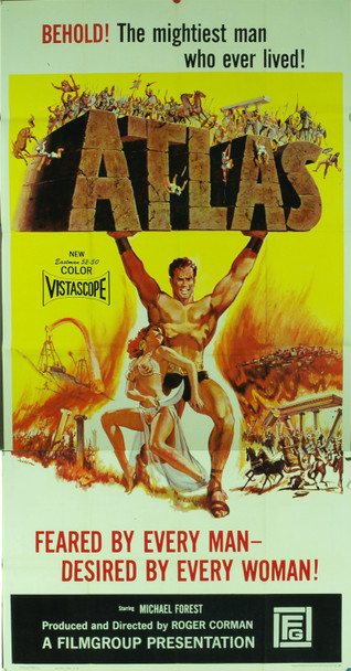 ATLAS (1961) 4871 Original The Filmgroup Three Sheet Poster (41x81). Folded. Fine condition.