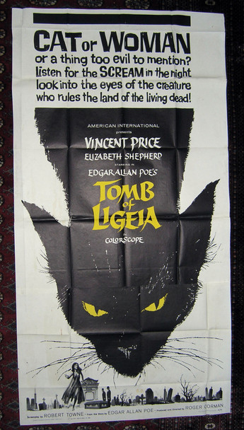 TOMB OF LIGEIA (1965) 4881 Original American International Pictures Three Sheet Poster (41x81). Fine Condition.