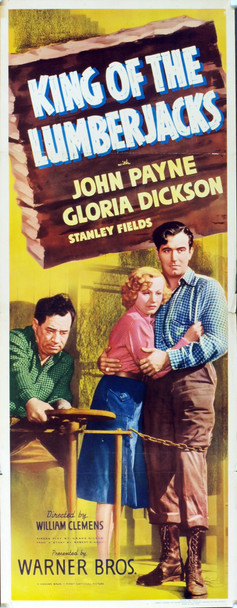 KING OF THE LUMBERJACKS (1940) 4901 Original Warner Brothers Insert Poster (14x36). Fine Plus Condition.