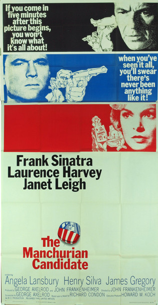 MANCHURIAN CANDIDATE, THE (1962) 4996 Original United Artists Three Sheet Poster (41x81). Folded.  Very Fine Condition.