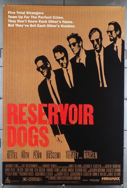 RESERVOIR DOGS (1992) 5006 Original Miramax Films One Sheet Poster (27x40).  Never Folded.  Fine Condition  Some edge wear