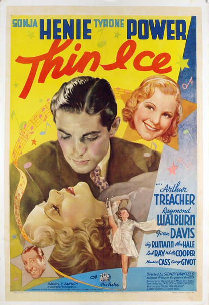 THIN ICE (1937) 5258 Original 20th Century Fox One Sheet (27x41).  Linen-Backed.  Fine Plus Condition.