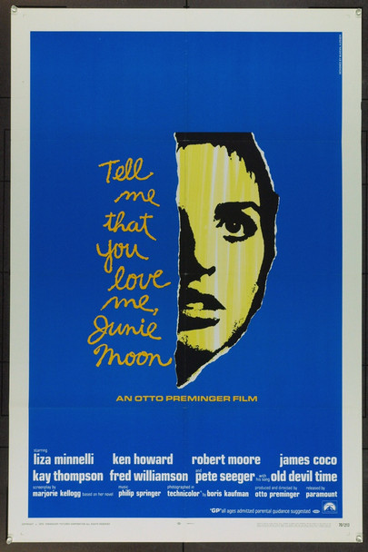 TELL ME THAT YOU LOVE ME, JUNIE MOON (1970) 5397 Original Paramount Pictures One Sheet Poster (27x41).  Folded.  Very Fine.
