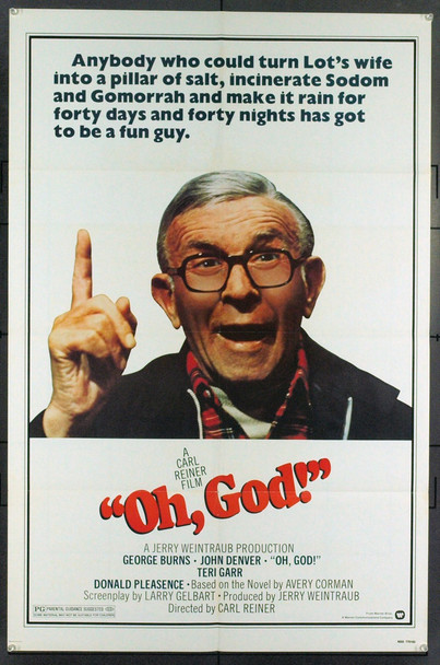 OH, GOD! (1977) 5416 Original Warner Brothers One Sheet Poster (27x41). Very Fine Plus.