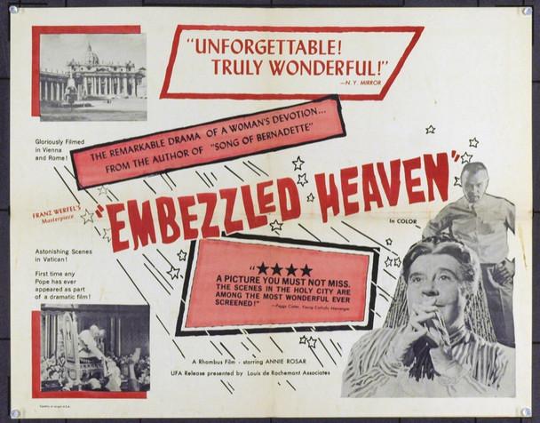 EMBEZZLED HEAVEN (1959) 5432 Original Louis De Rochemont Associates Half Sheet Poster (22x28).