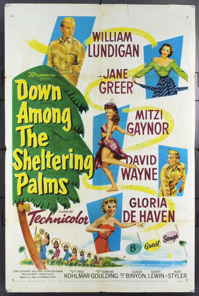 DOWN AMONG THE SHELTERING PALMS (1951) 5445 One Sheet Poster. 27x41. Good.