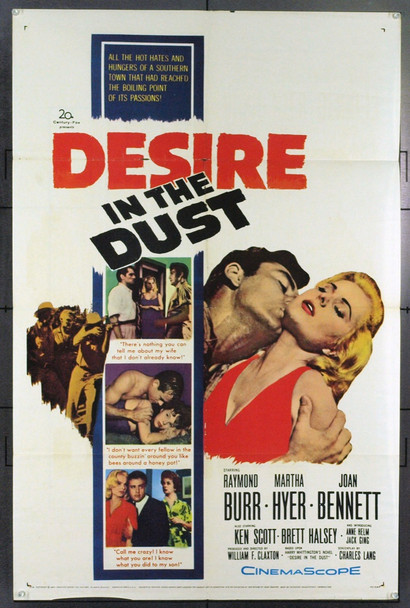 DESIRE IN THE DUST (1960) 5446 Original 20th Century-Fox One Sheet Poster (27x41). Folded. Good.
