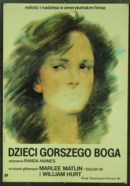 CHILDREN OF A LESSER GOD (1986) 5562 Original Polish Poster (26x37). Art by Waldemar Swierzy. Very Fine Condition.
