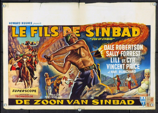 SON OF SINBAD (1955) 5846 Original Belgian Poster (14x22).  Folded but stored rolled for many years.  Belgian Censor stamp on poster.  Fine condition.