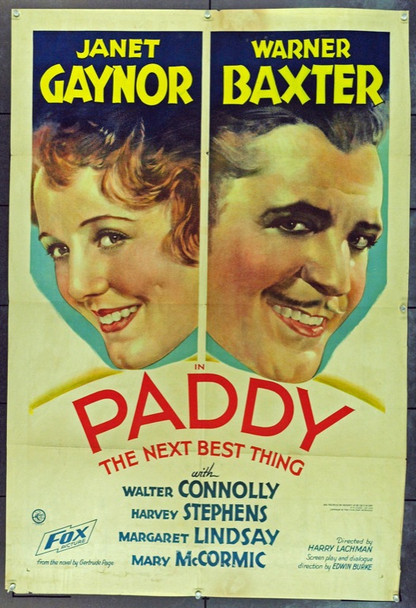 PADDY (1933) 6537 PADDY THE NEXT BEST THING Original Fox Film Corporation One Sheet Poster (27x41). Folded. Very Fine.